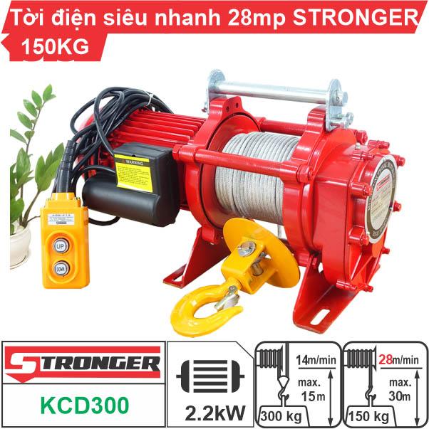 Máy tời nhanh xây dựng 150-300kg 28m/phút STRONGER KCD300