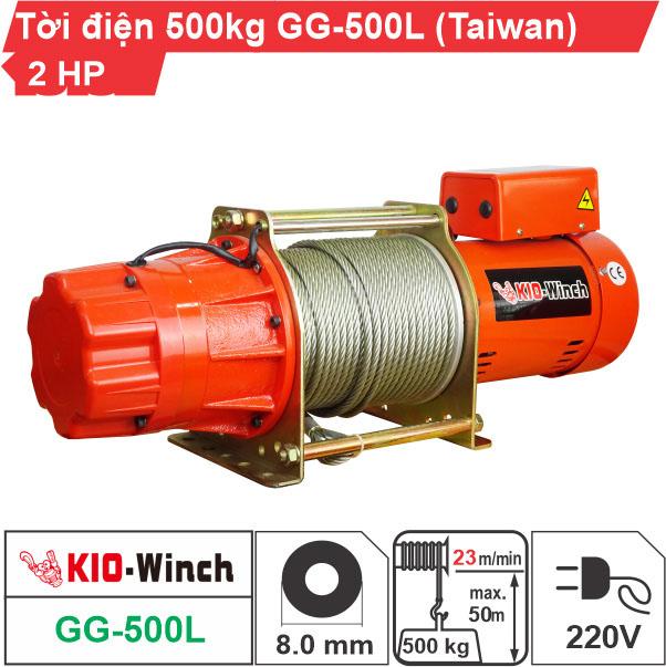 Máy tời nhanh xây dựng 500kg 23m/phút KIO Winch GG-500L