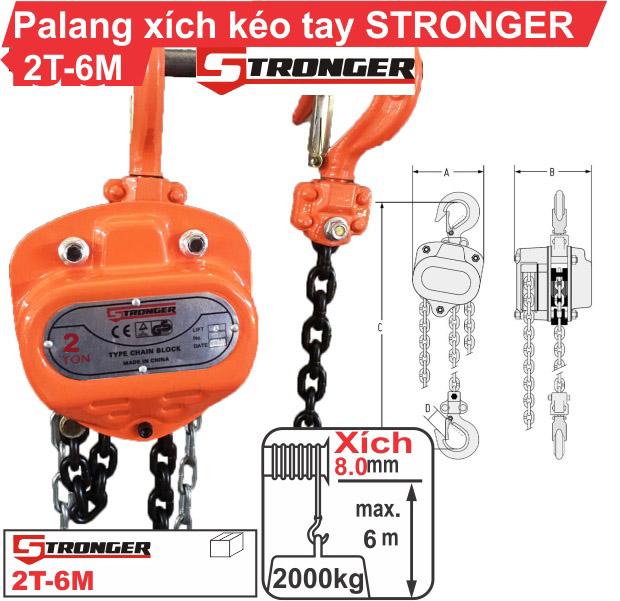 Palang xích kéo tay 2 tấn-6m Stronger