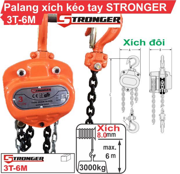 Palang xích kéo tay 3 tấn-6m Stronger