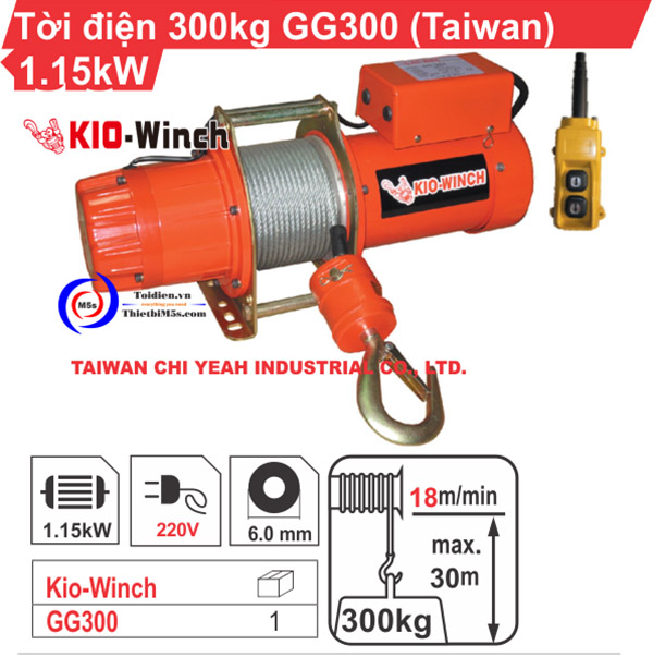 Máy tời kéo mặt đất 300kg KIO Winch GG-300