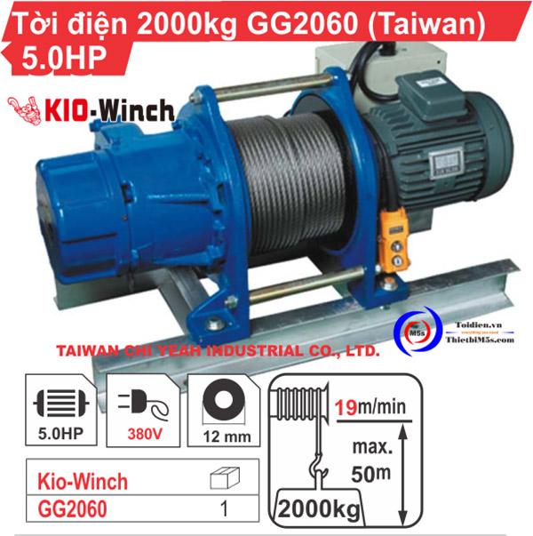 Máy tời kéo mặt đất 2 tấn KIO Winch GG-2060