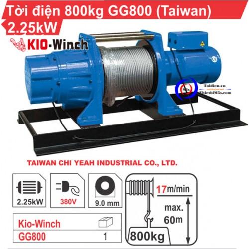 Máy tời kéo mặt đất 800kg KIO Winch GG-800