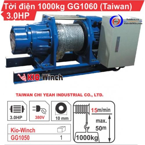 Máy tời kéo mặt đất 1 tấn KIO Winch GG-1060