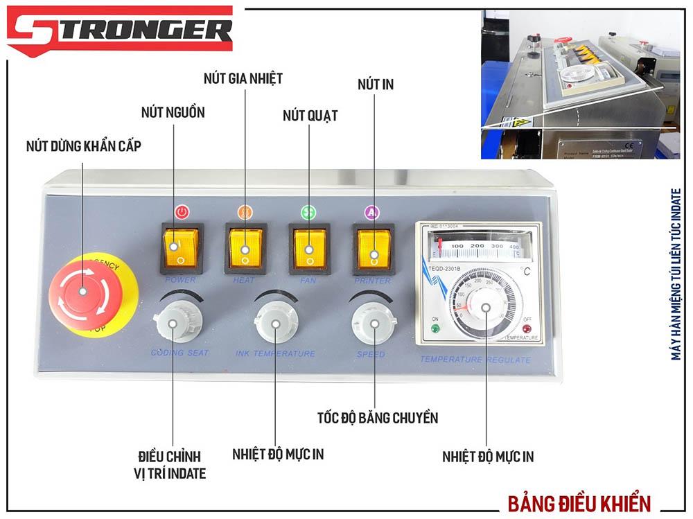 Bảng điều khiển máy hàn miệng túi liên tục có in date FRBM-810I-TK Stronger