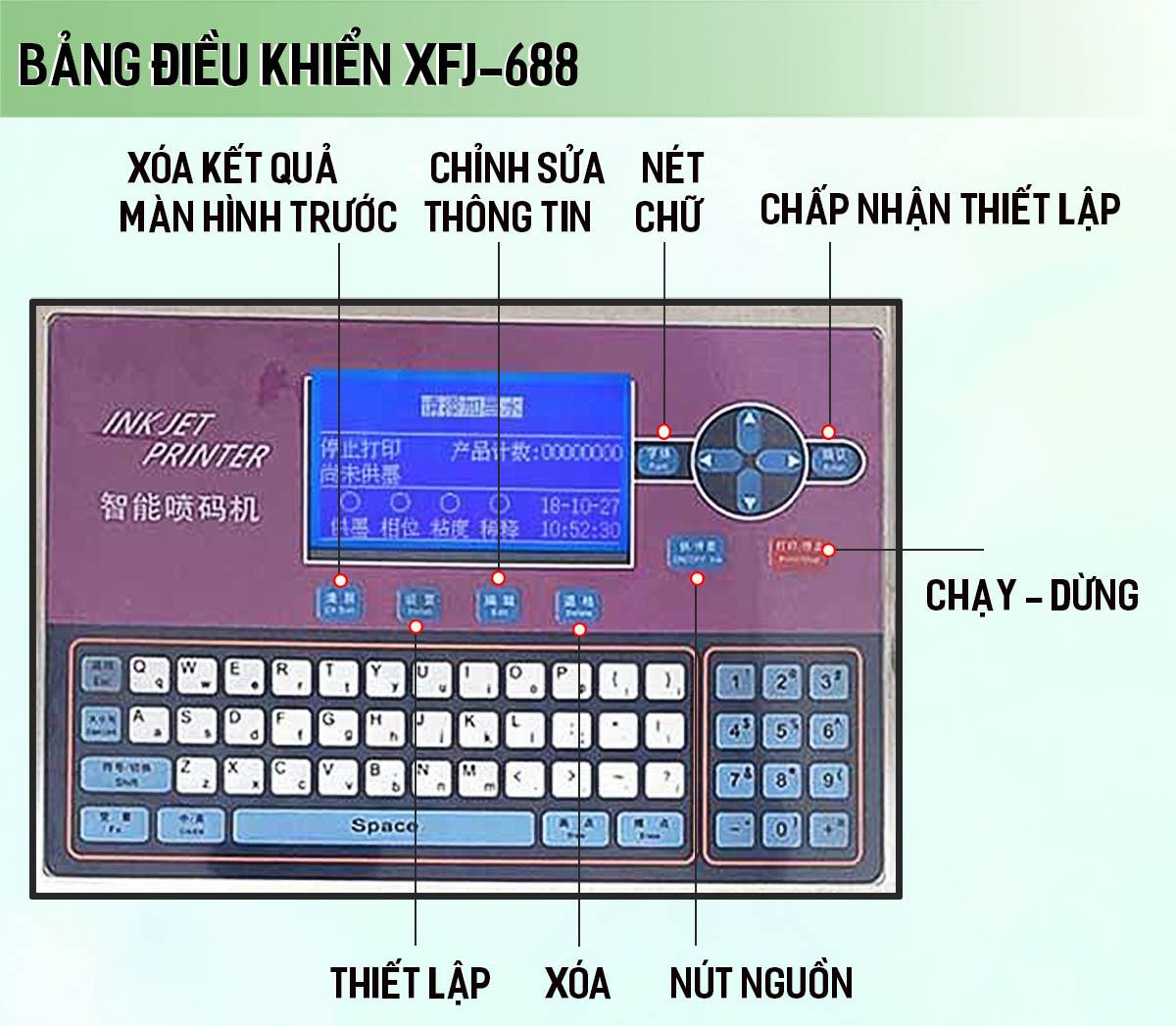 Bảng điều khiển máy in phun date XFJ-688