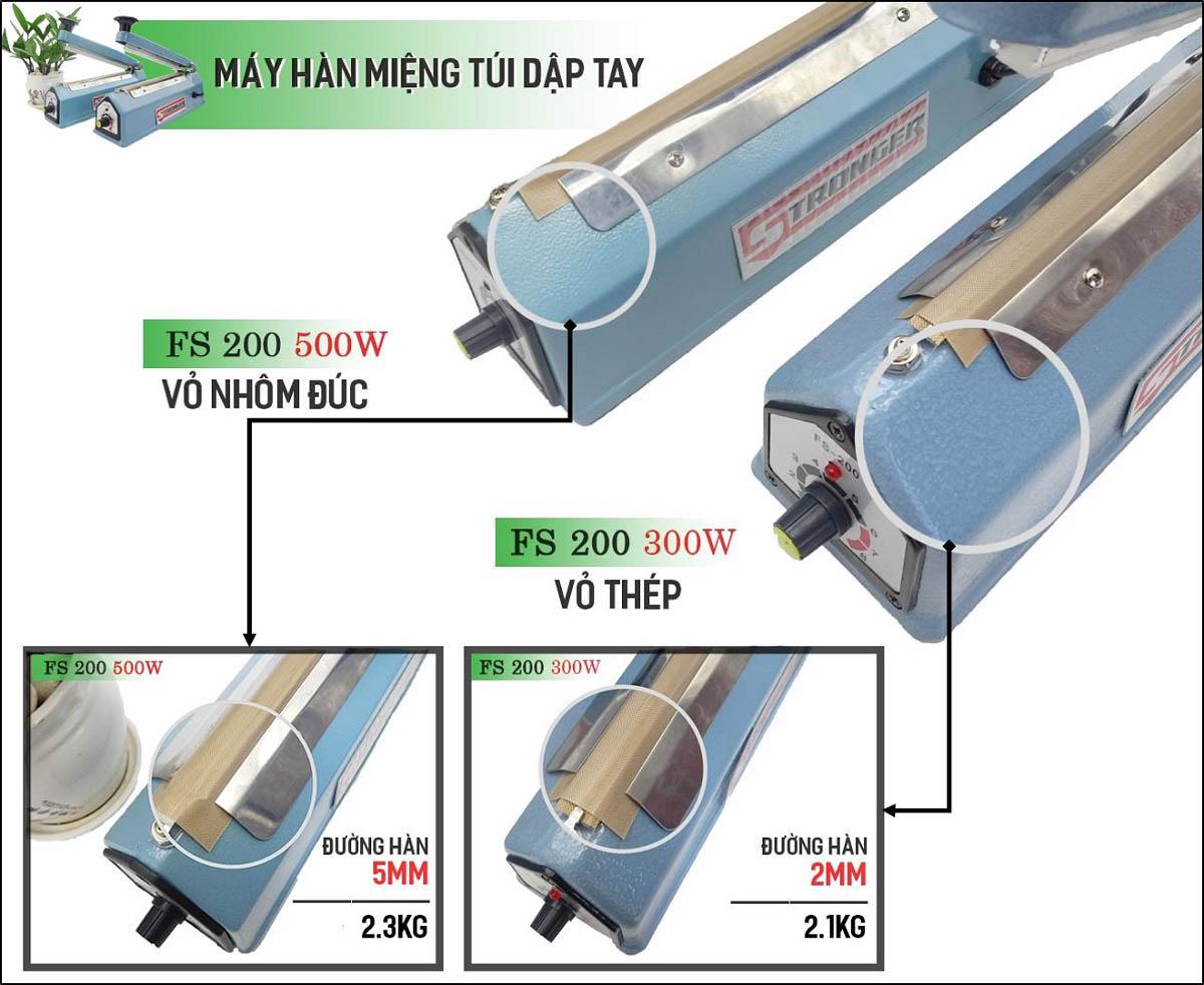 Máy hàn miệng túi dập tay đường hàn 2mm và đường hàn 5mm Stronger