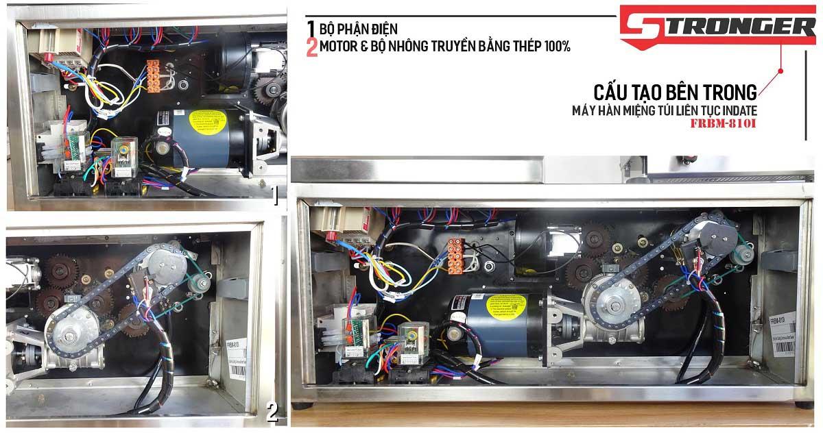 Motor & bộ nhông máy hàn miệng túi liên tục có in date FRBM-810I Stronger