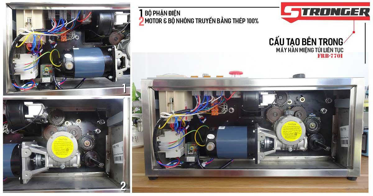 Chi tiết bên trong Máy hàn miệng túi liên tục FRB-770I Stronger vỏ inox