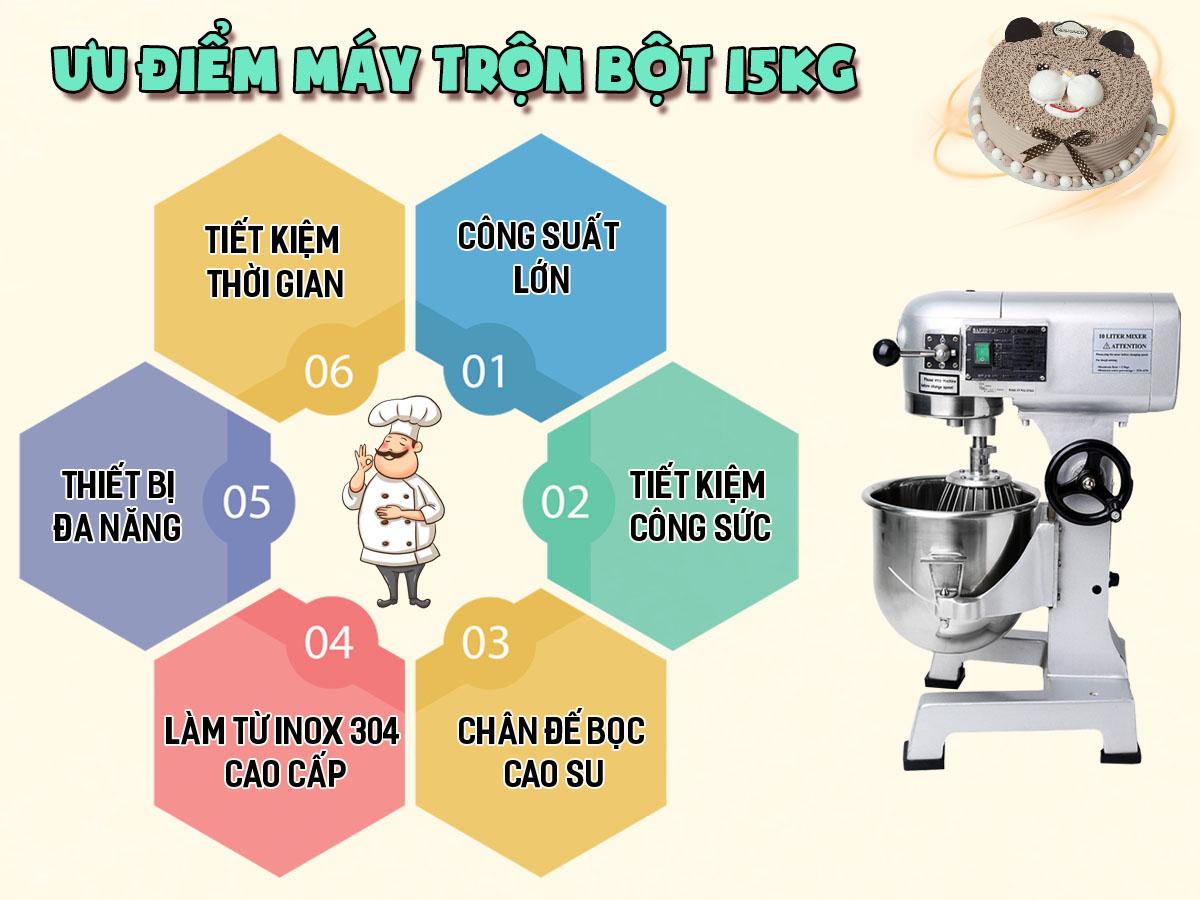 ưu điểm máy trộn bột 15kg