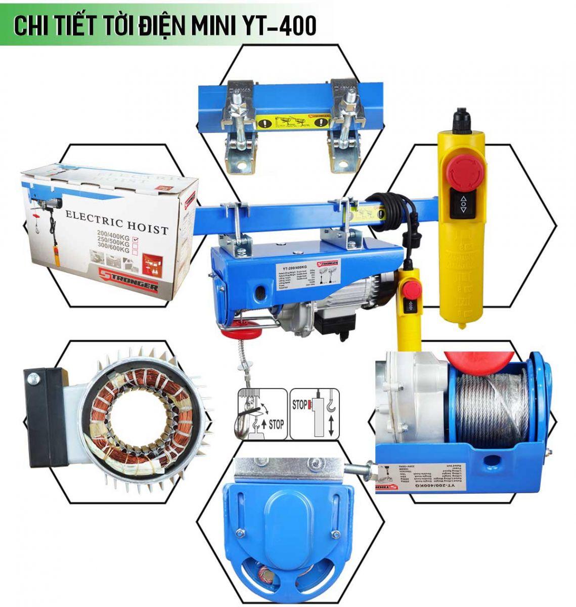 Chi tiết máy tời điện mini 200-400kg Stronger YT-400B