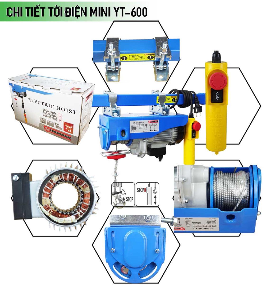 Máy tời điện mini 300-600kg Stronger YT-600B