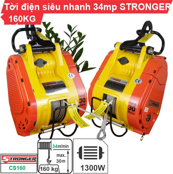 Máy tời điện nhanh 160kg 34m/phút Stronger CS-160