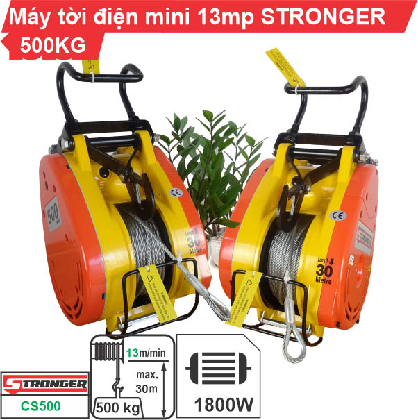 Máy tời điện nhanh 500kg 13m/phút Stronger CS-500