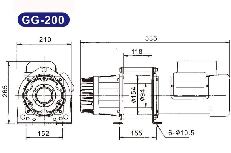 Máy tời kéo mặt đất 200kg KIO Winch GG-200