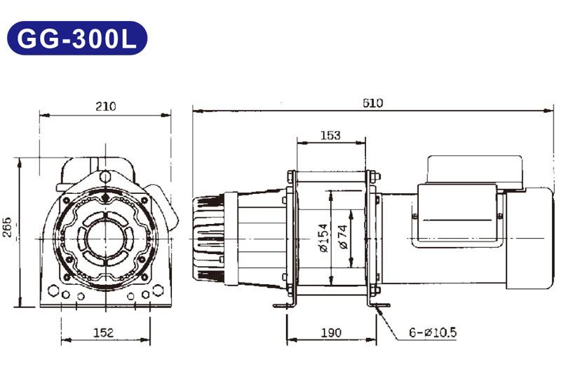 Máy tời kéo mặt đất 300kg KIO Winch GG-300L