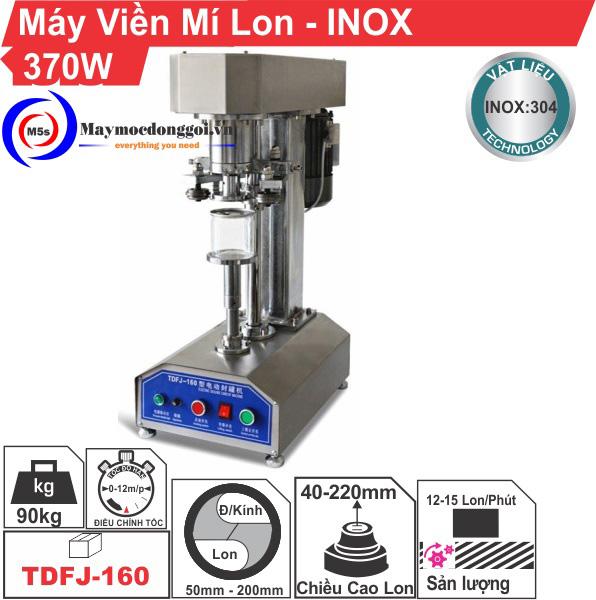 Máy viền mí lon bán tự động TDFI-160 vỏ inox