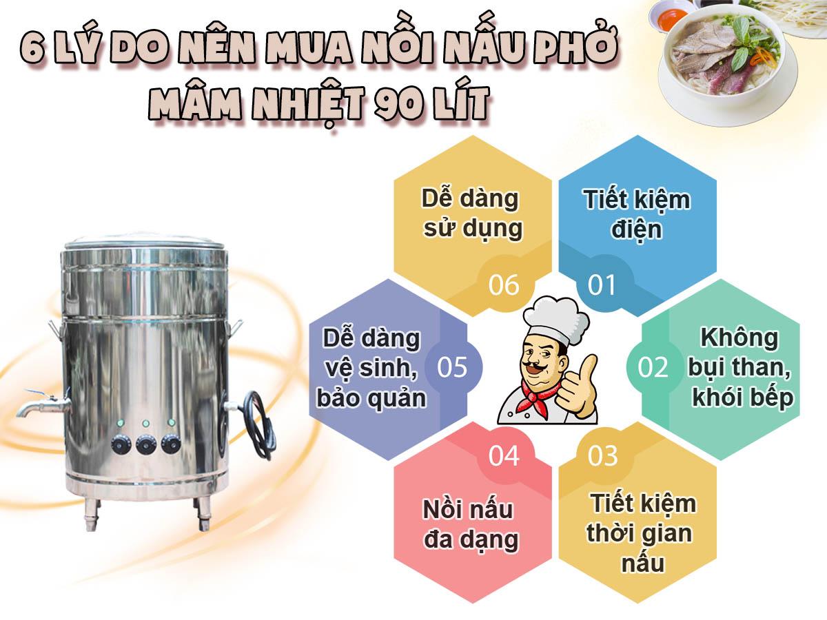 6 lý do nên mua nồi nấu phở mâm nhiệt 90 lít