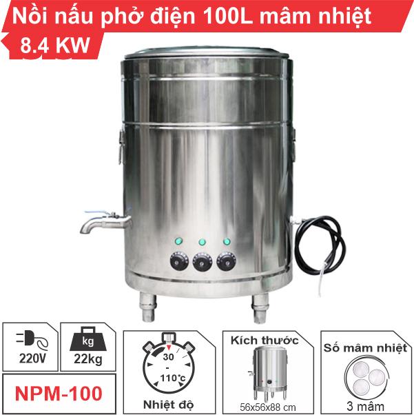Nồi nấu phở điện 100 lít mâm nhiệt