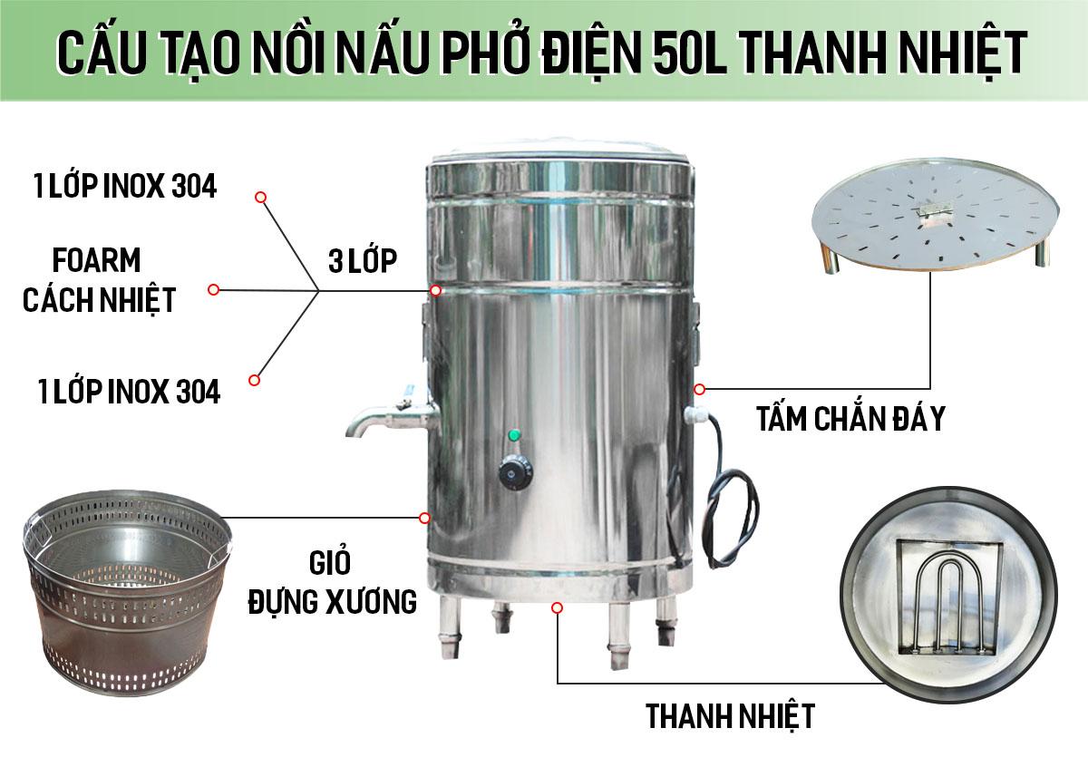 Cấu tạo nồi nấu phở điện 50 lít thanh nhiệt