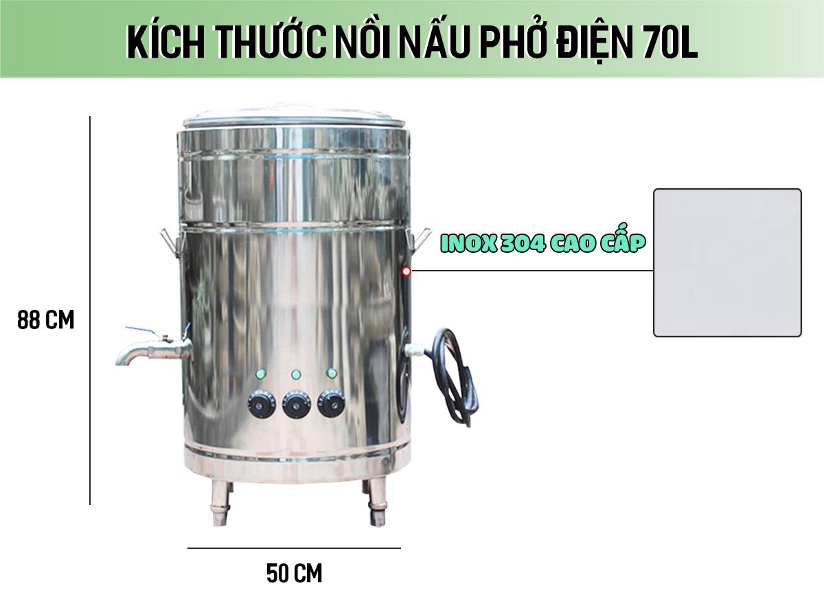 Kích thước nồi nấu phở điện 70 lít thanh nhiệt
