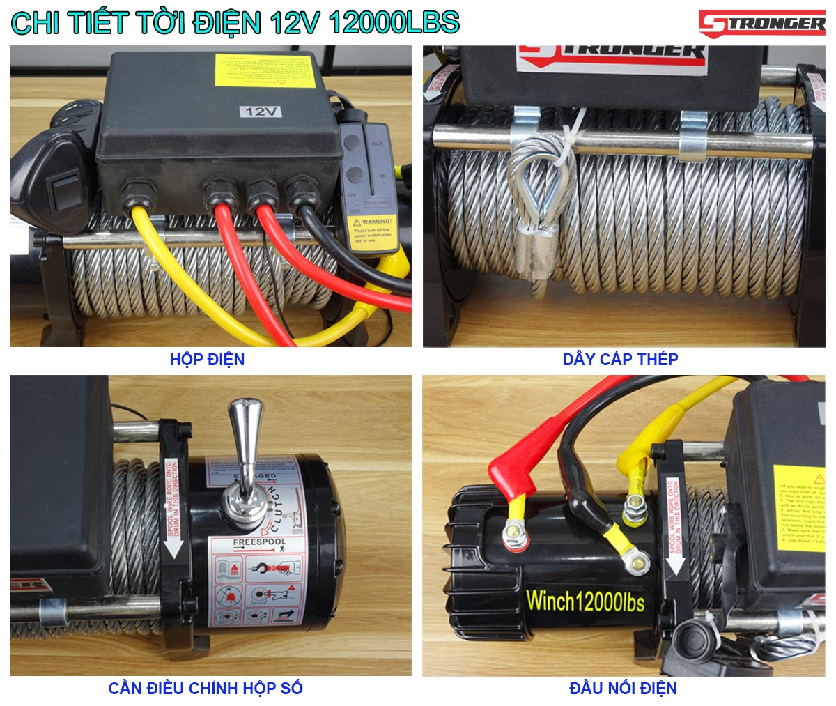 Tời điện 12V 12000Lbs (5443kg) Stronger