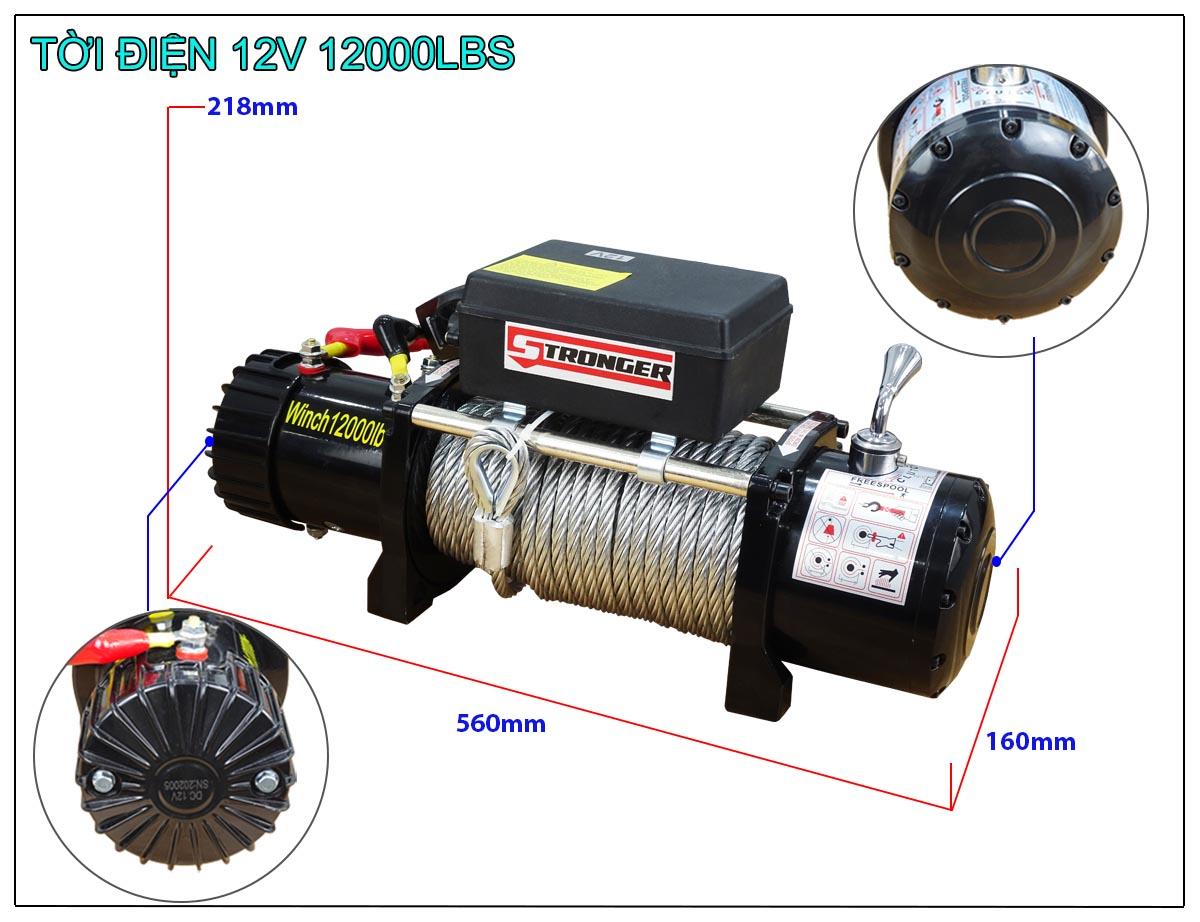 Tời điện 12V 12000Lbs Stronger