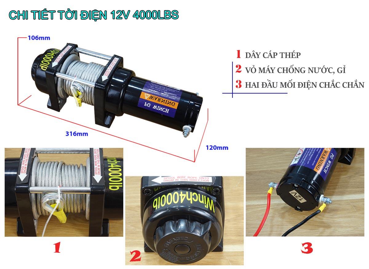 Tời điện 12V 4000Lbs Stronger