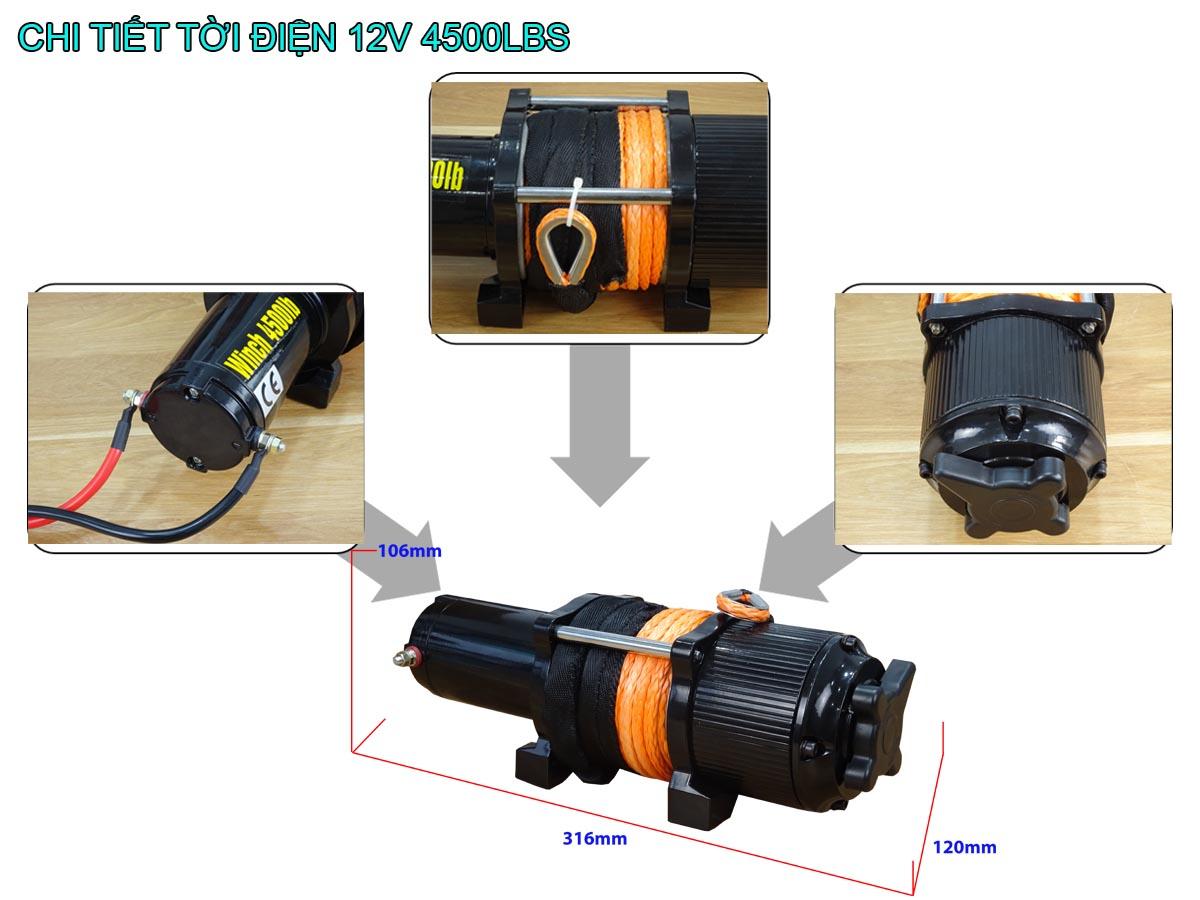 Chi tiết tời điện 12V 4500Lbs Stronger mẫu mới