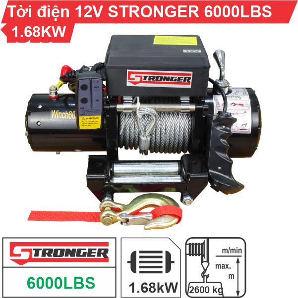 Tời điện kéo xe 12v 6000lbs Stronger