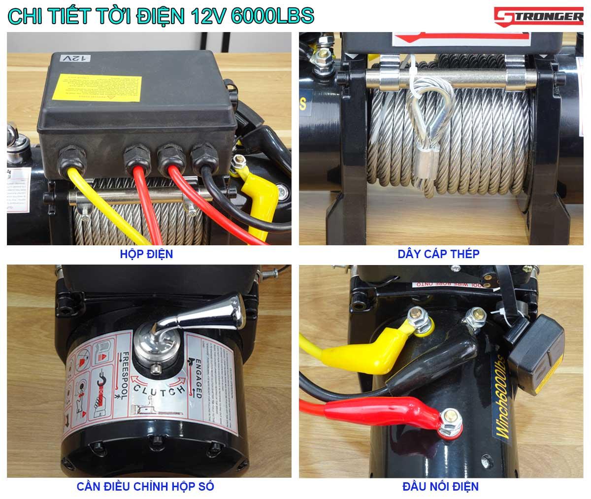 Chi tiết tời điện 12V 6000Lbs Stronger