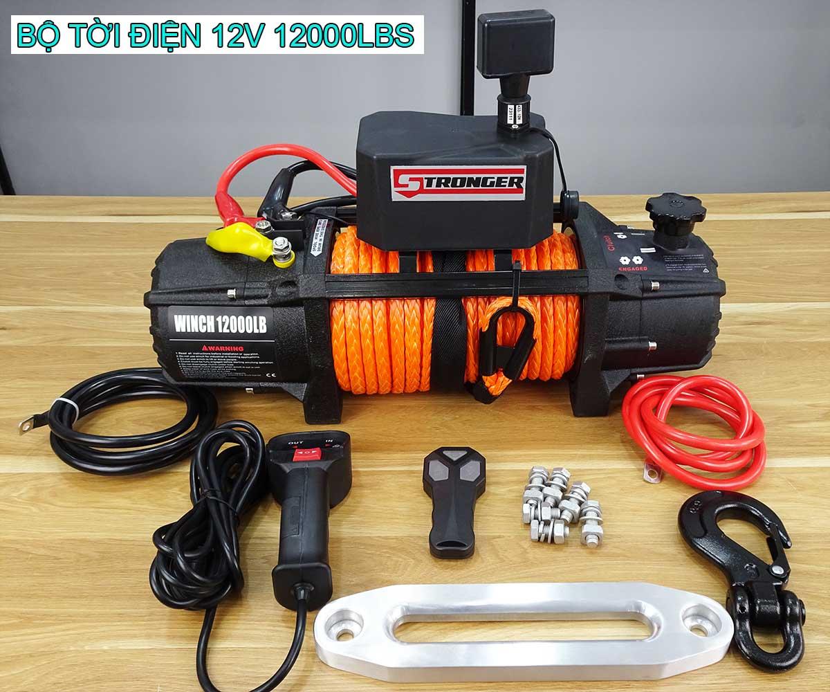 Tời điện kéo xe 12v 12000lbs Stronger